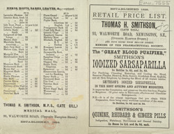 Advert for Thomas H Smithson, chemists
